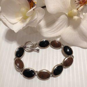 "Jewelry - 925 Sterling Silver Black Onyx Bracelet 7"""